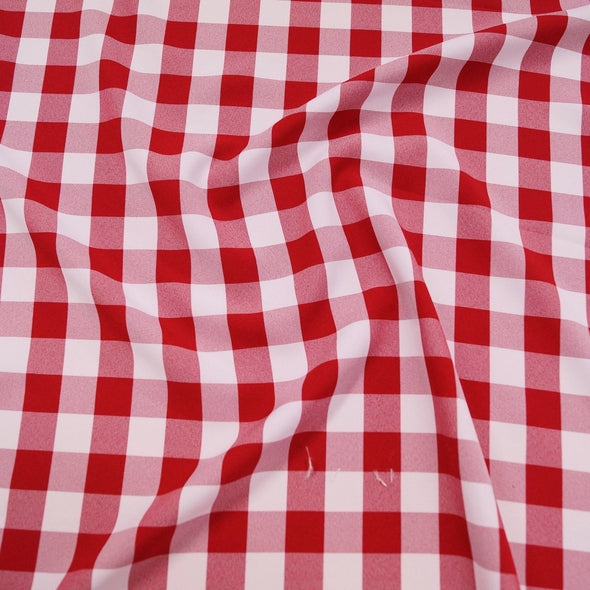 Polyester Checker (Gingham) Wholesale Fabric in Red