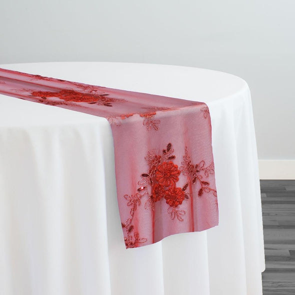 Ribbon Mesh Lace Table Runner in Red