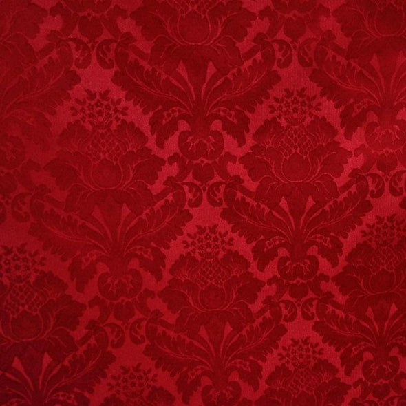 Damask Poly Wholesale Fabric in Red