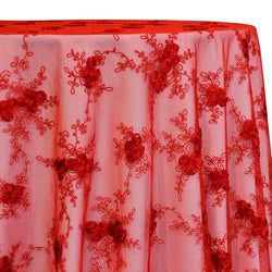 Baby Rose Embroidery Table Linen in Red