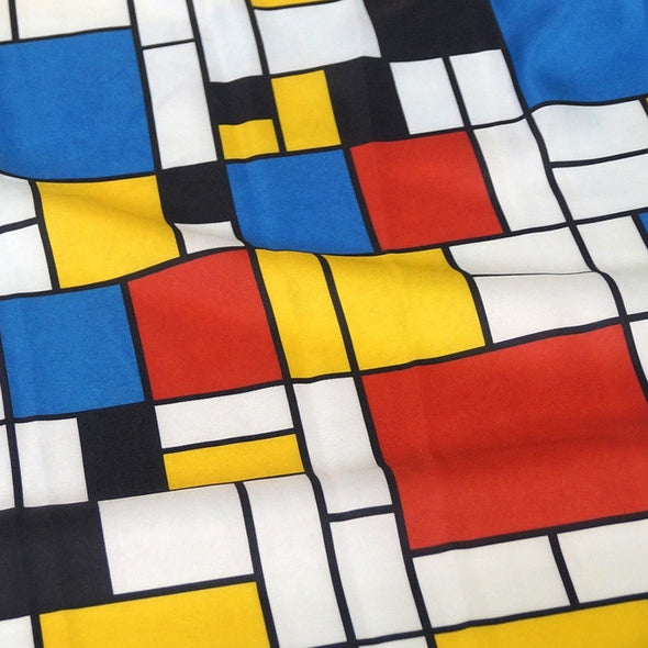 Mondrian Print Table Runner in Red