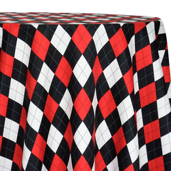 Argyle (Poly Print) Table Linen in Red and Black and White