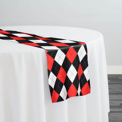 Argyle (Poly Print) Table Runner in Red Black and White