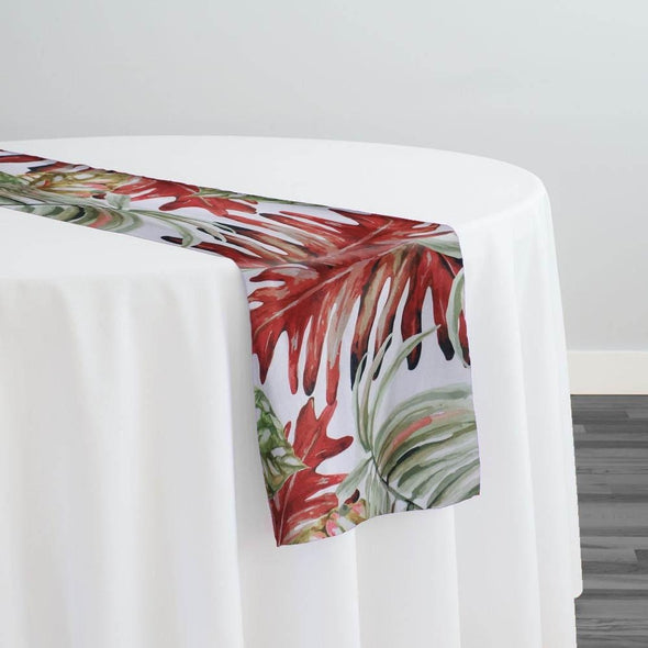 Tropical Print (Dupioni) Table Runner in Red