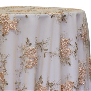 Ribbon Mesh Lace Table Linen in Champagne