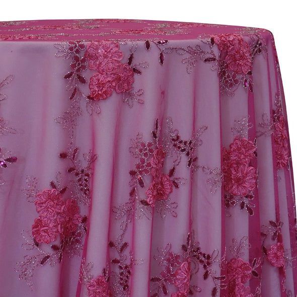 Ribbon Mesh Lace Table Linen in Fuchsia