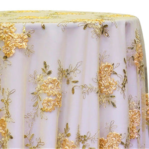 Ribbon Mesh Lace Table Linen in Gold
