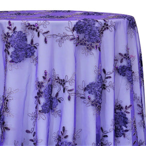 Ribbon Mesh Lace Table Linen in Lilac