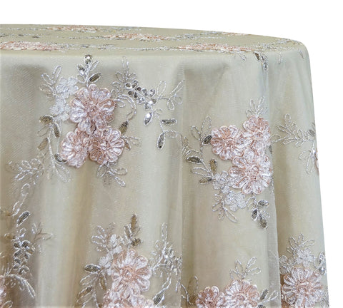 "Ribbon Mesh Lace - Champagne 120"" Round Wedding Tablecloth"