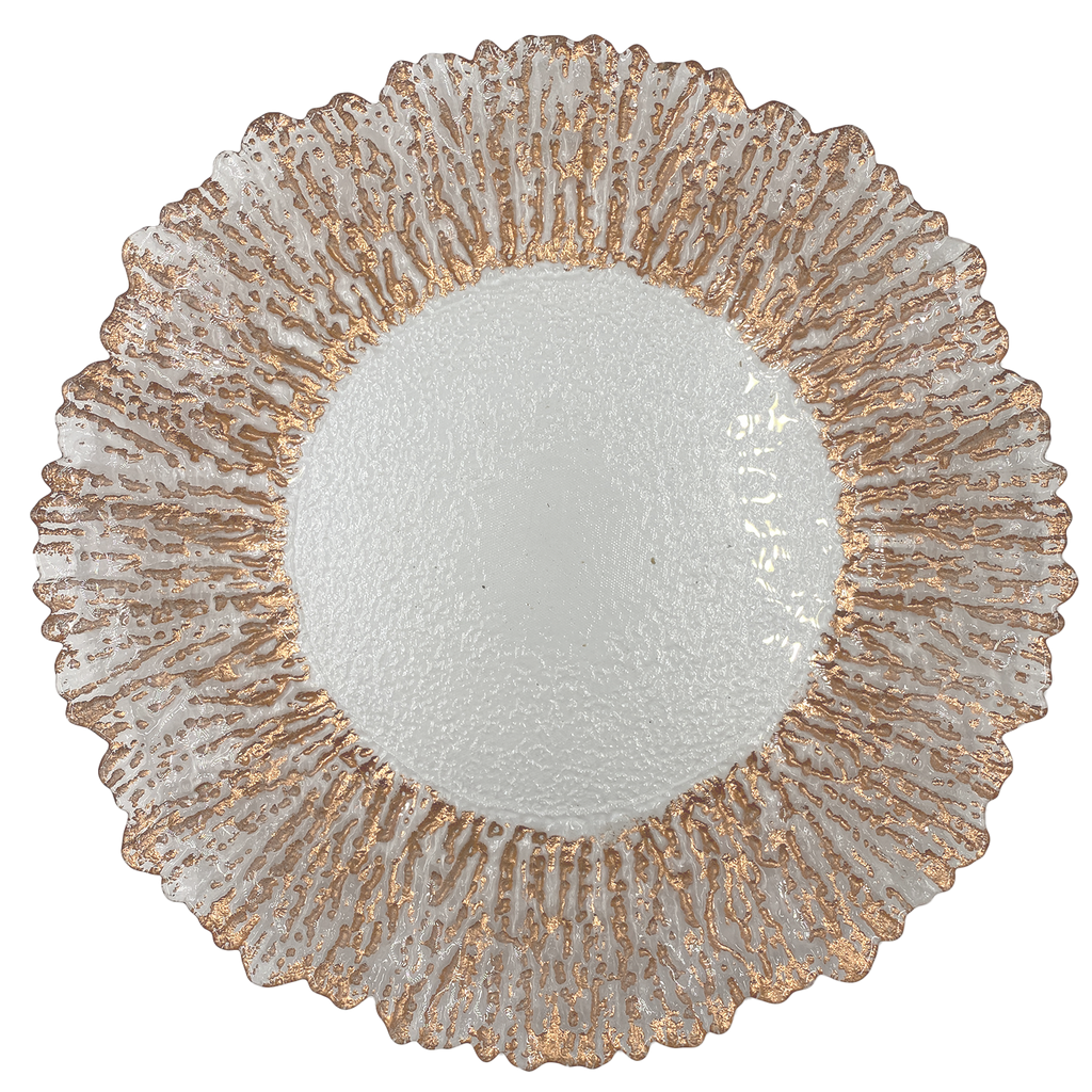 Floral - Glass Charger Plate in Rose Gold