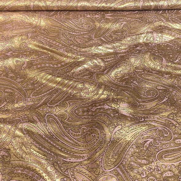 Paisley Jacquard Table Runner in Rose Gold