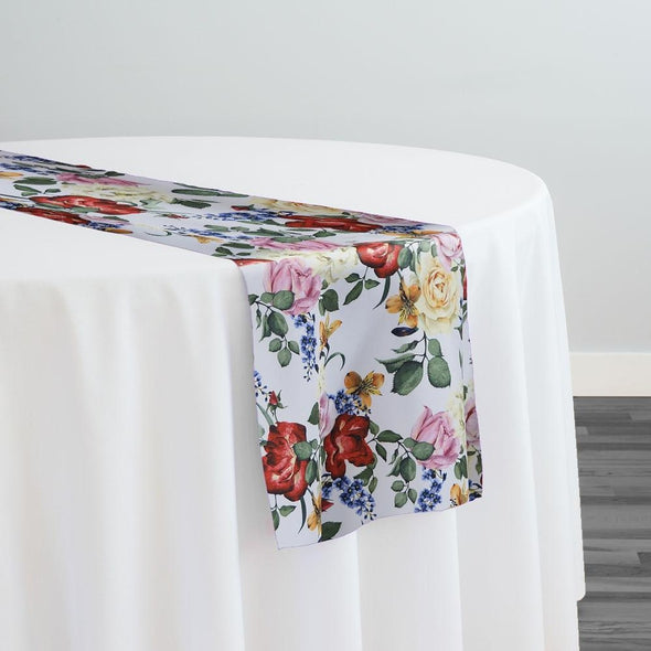 Rose Garden Poly Print Table Runner
