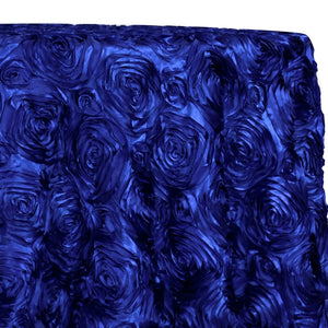 Rose Satin (3D) Table Linen in Royal