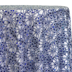 Flower Chain Lace Table Linen in Royal and Silver