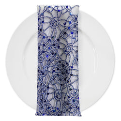 Flower Chain Lace (w/ Poly Lining) Table Napkin in Royal and Silver