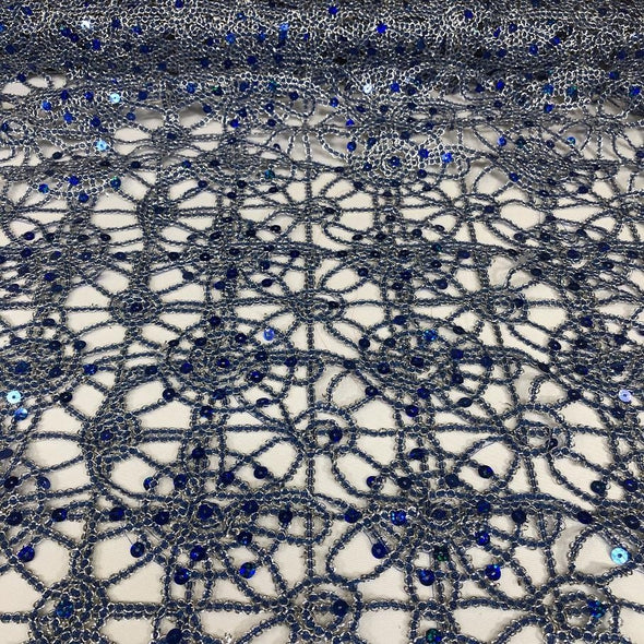 Flower Chain Lace Table Runner in Royal and Silver