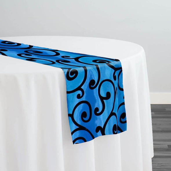 Swirl Flocking Taffeta Table Runner in Black on Royal