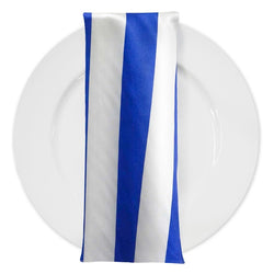 "2"" Satin Stripe Table Napkin in White and Royal"