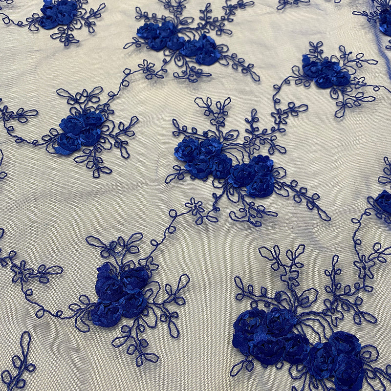 Baby Rose Embroidery (w/ Poly Lining) Table Napkin in Royal