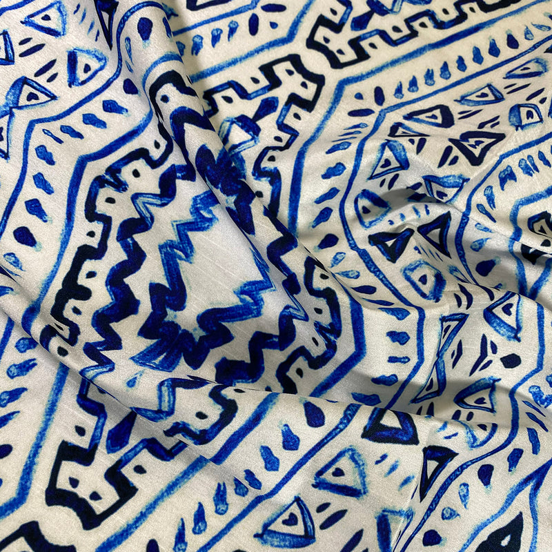Aztec Print (Dupioni) Table Napkin in Royal