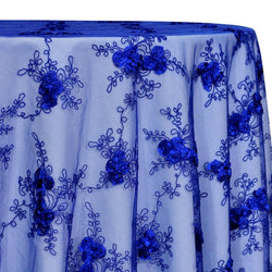 Baby Rose Embroidery Table Linen in Royal