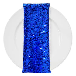 Taffeta Sequins (w/ Poly Lining) Table Napkin in Royal