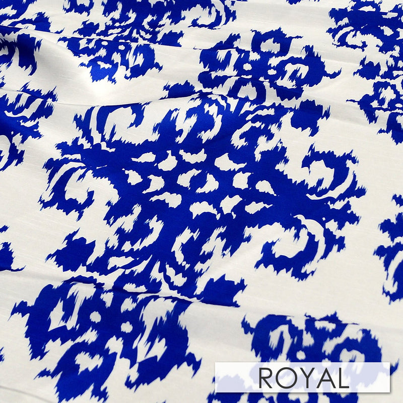"2pcs - Newport Print - 90"" Round - Royal"
