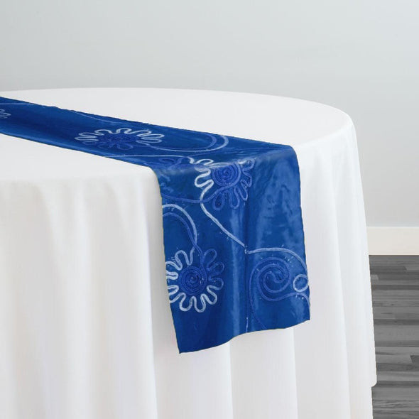 Eyelash Embroidery Table Runner in Royal