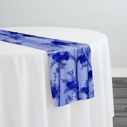 Baby Rose Embroidery Table Runner in Royal