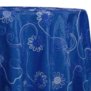 Eyelash Embroidery Table Linen in Royal