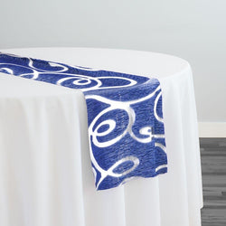 Contempo Scroll Sheer Table Runner in Royal