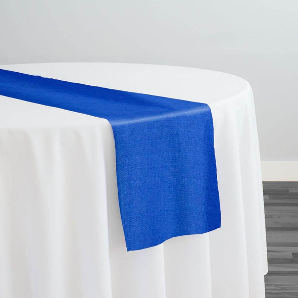 Rustic Linen (100% Poly/Double-Wide) Table Runner in Royal