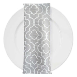 Gatsby Print (Lamour) Table Napkin in Silver