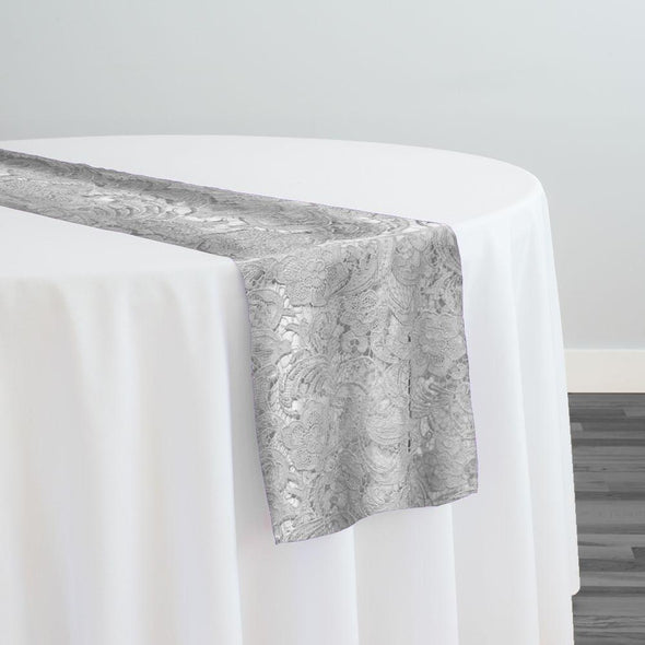 English Lace Table Runner in Silver