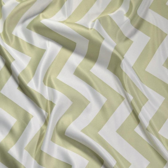 Chevron Print (Lamour) Table Linen in Sage and White