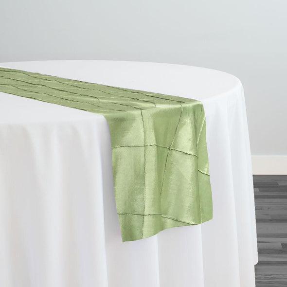"4"" Pintuck Taffeta Table Runner in Sage 103"