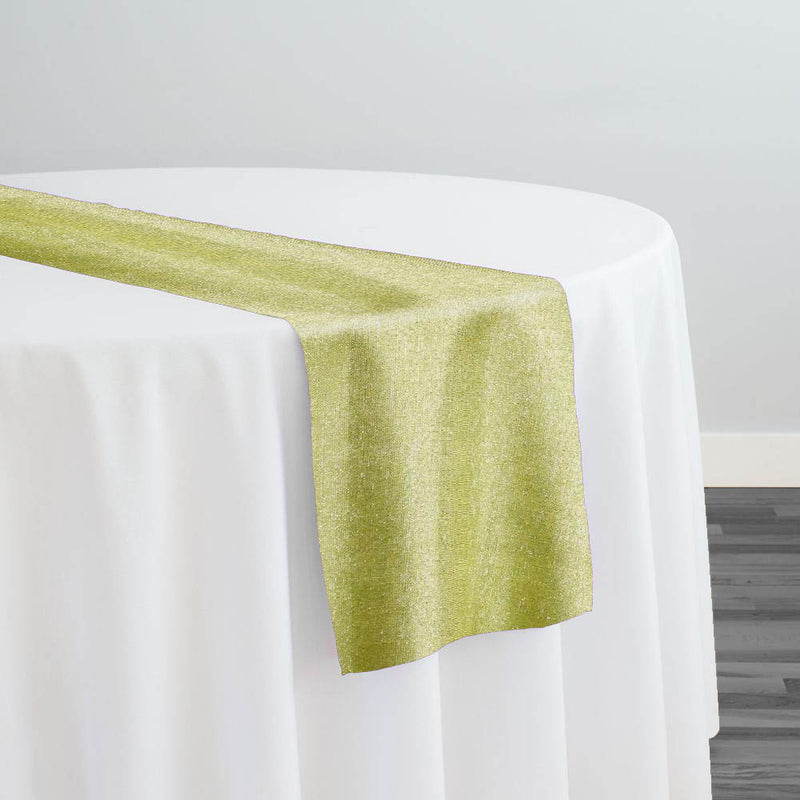 Metallic Burlap (100% Polyester) Table Runner in Sage