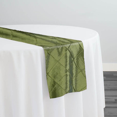 "2"" Pintuck Taffeta Table Runner in Sage 022"