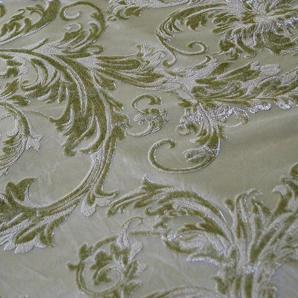 Victorian Jacquard Sheer Table Runner in Sage