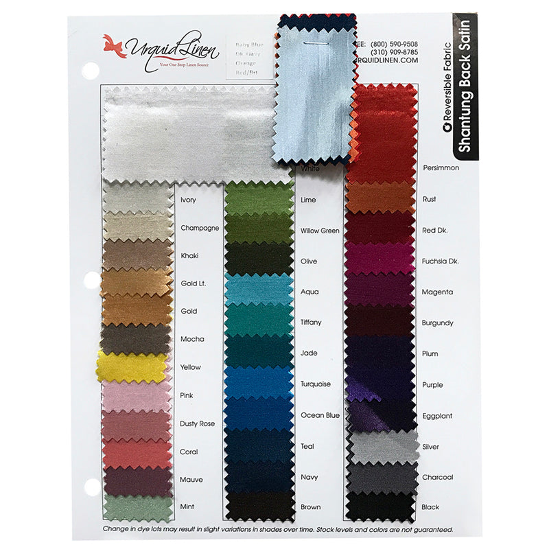"Shantung Satin Drapery Panels (58"" Wide) / 38 Colors"