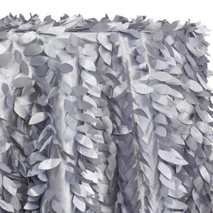 Leaf Hanging Taffeta Table Linen in Silver