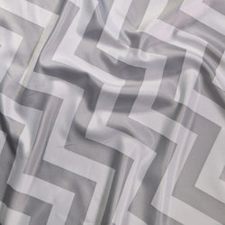 Chevron Print (Lamour) Table Runner in Silver and White