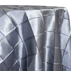 "4"" Pintuck Taffeta Table Linen in Silver 097"