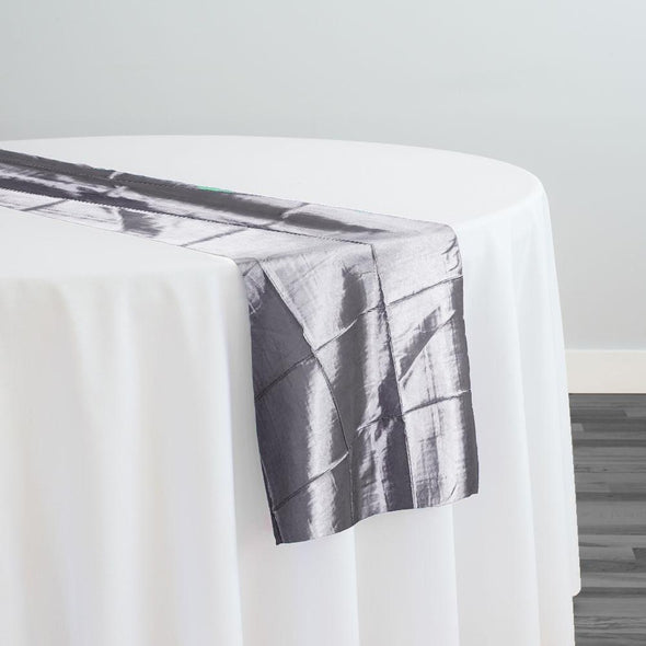 "4"" Pintuck Taffeta Table Runner in Silver 097"