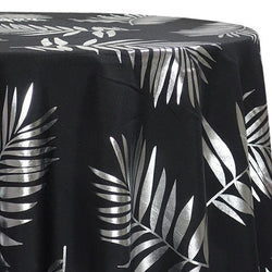 Leaf (Metallic Print) Table Linen in Black and Silver