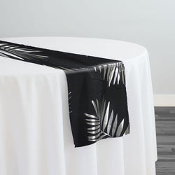Leaf (Metallic Print) Table Runner in Black and Silver