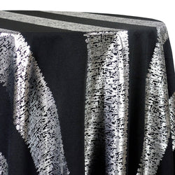 Stripe (Metallic Print) Table Linen in Black and Silver