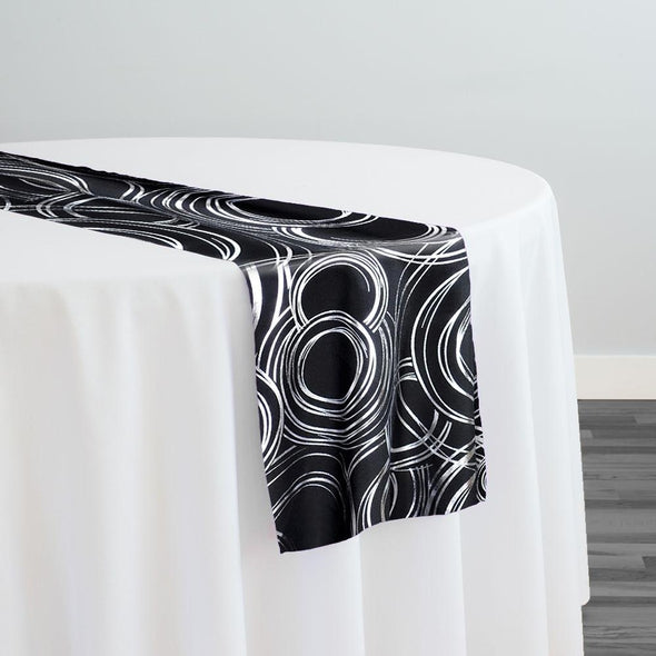 Orbit (Metallic Print) Table Runner in Black and Silver