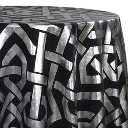 Majestic (Metallic Print) Table Linen in Black and Silver