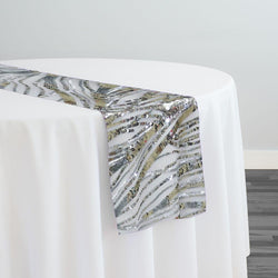 Skyfall Sequins Table Runner in Silver and Silver